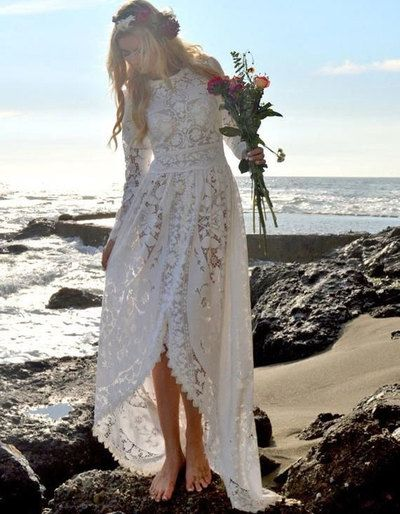 Boho long sleeves wedding dresses bridal gowns from