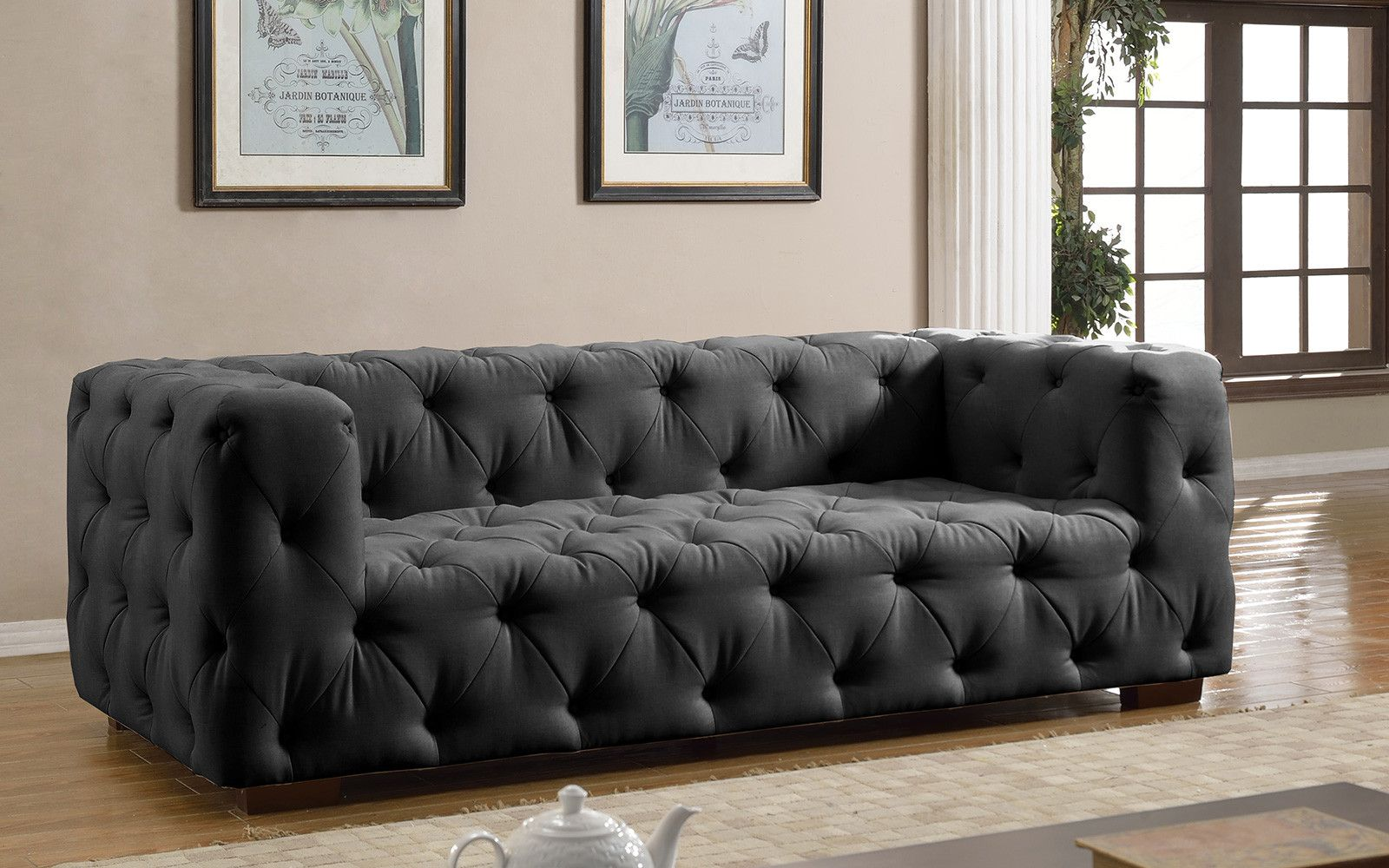 Luxurious Modern Dark Grey Tufted Sofa | Sofa Mania