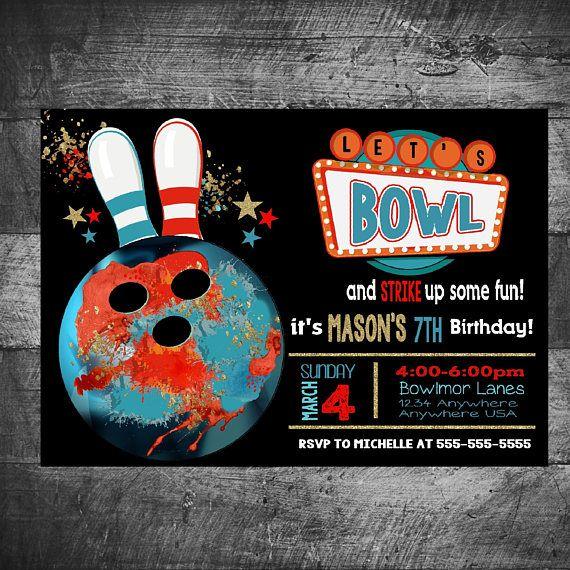 Bowling Invitation Boys Bowling Birthday Invitation Bowling