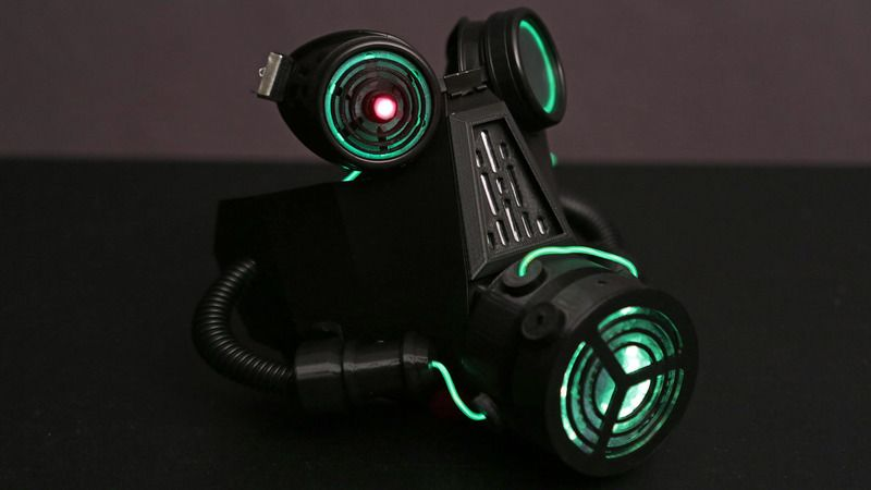 3d Printed Neopixel Led Gas Mask It S Got Lasers El Wire And Of
