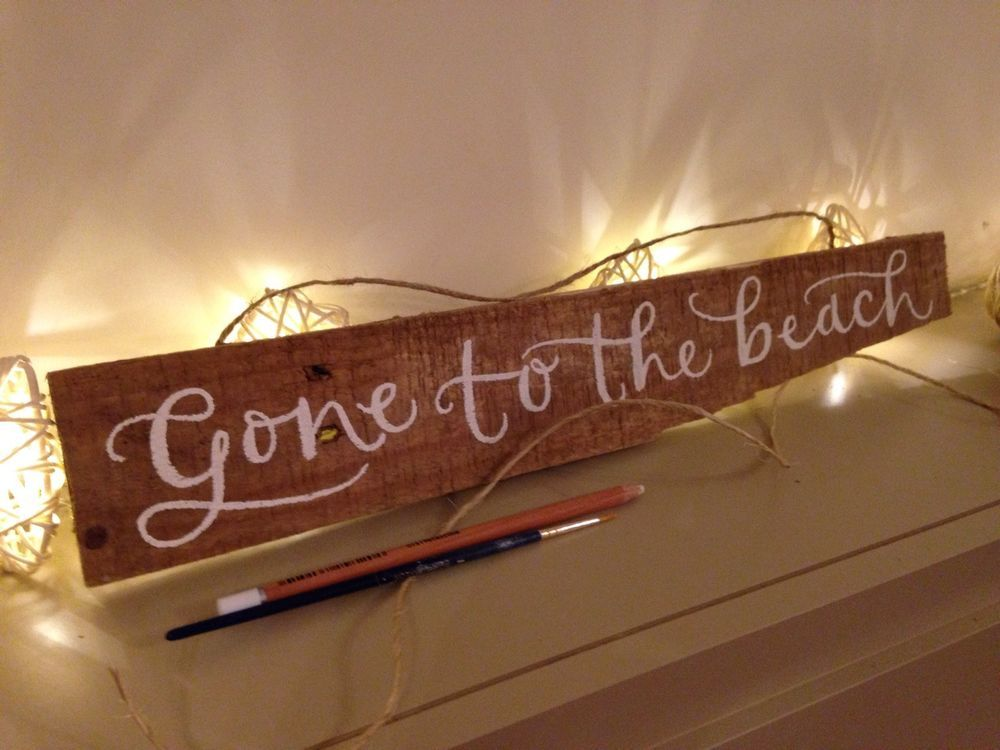 Driftwood Sign Hand Painted Gone To The Beach | eBay