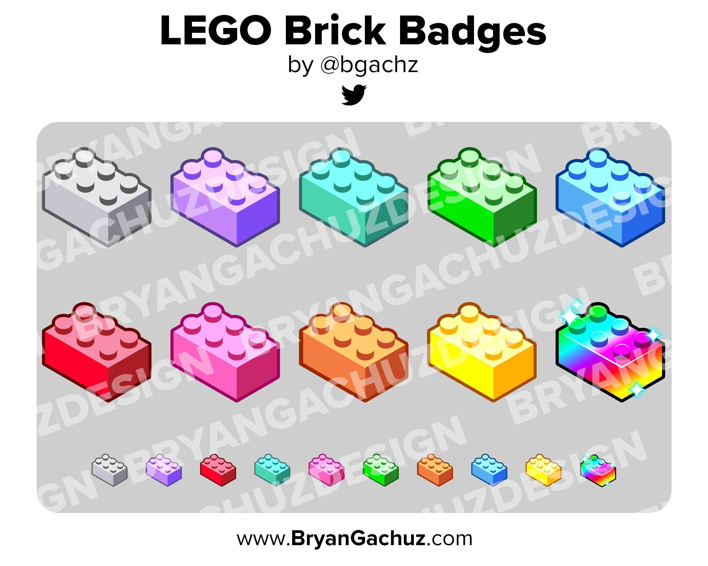 Colorful lego brick subscriber loyalty bit badges etsy