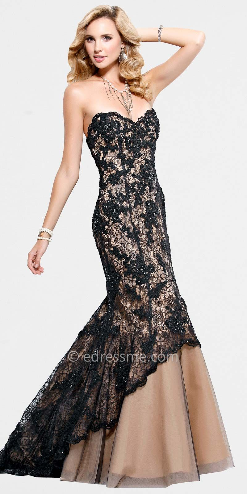 Black Nude Lace Formal Gowns by Scala | Dresses | Pinterest | Formal ...