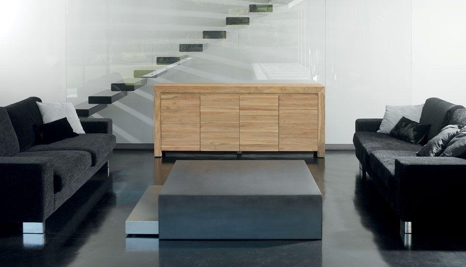 Un salon moderne grâce à cette commode en teck sablé de la collection Zago COSMOS. Des meubles aux finitions impeccables et au style incontournable... #Teck #Deco #Home
