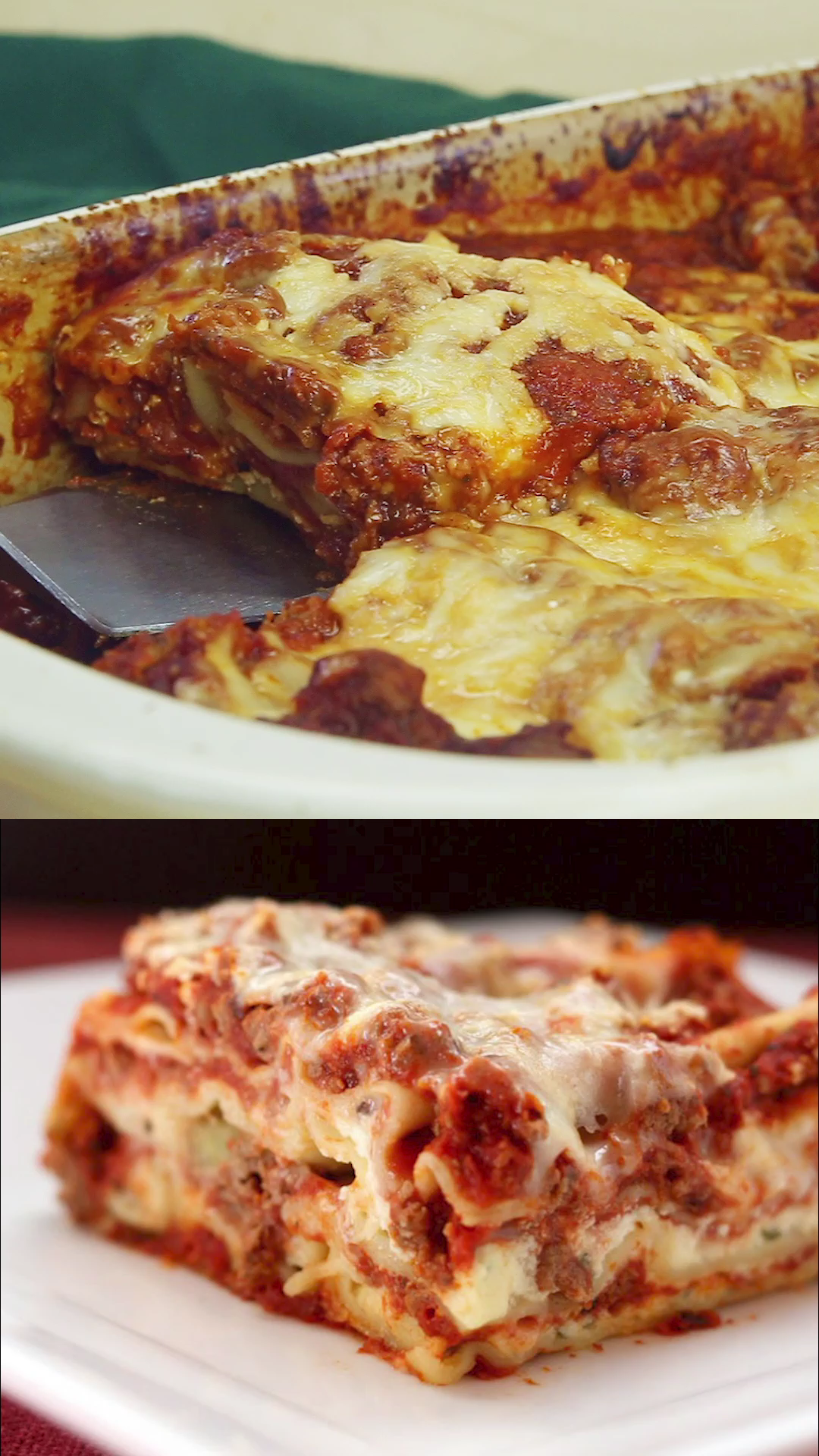 World's Best Lasagna - the ultimate recipe for classic Italian comfort food with layers of noodles, meat sauce, and cheese. Sunday dinner is extra special when you make this traditional pasta dish. #lasagna #comfortfood