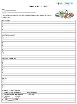 printable potluck sign up sheets education for enspiring teachers