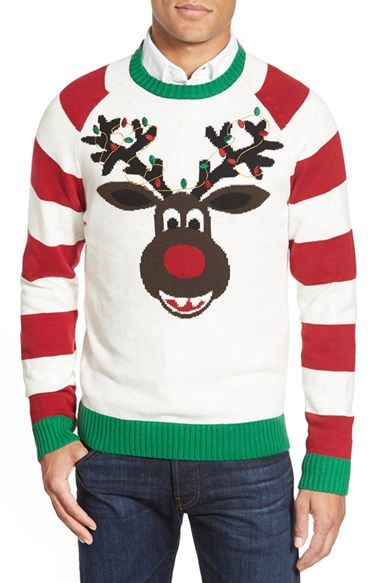 ugly christmas sweater reindeer stripe holiday crewneck sweater available at nordstrom - Nordstrom Christmas Sweaters
