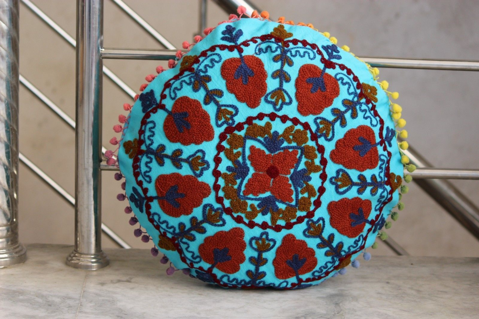 Flower embroidered suzani round cushion cover round pillow case
