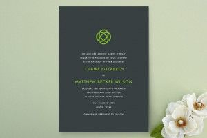 If you're going for modern simplicity, this is absolutely the celtic knot invitation for you. A really well done twist on the classic celtic knot tradition in these invitations from Minted.