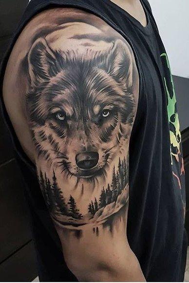 Wolf Tattoos For Men In 2020 Wolf Tattoos Men Wolf Tattoos Wolf Tattoo Shoulder