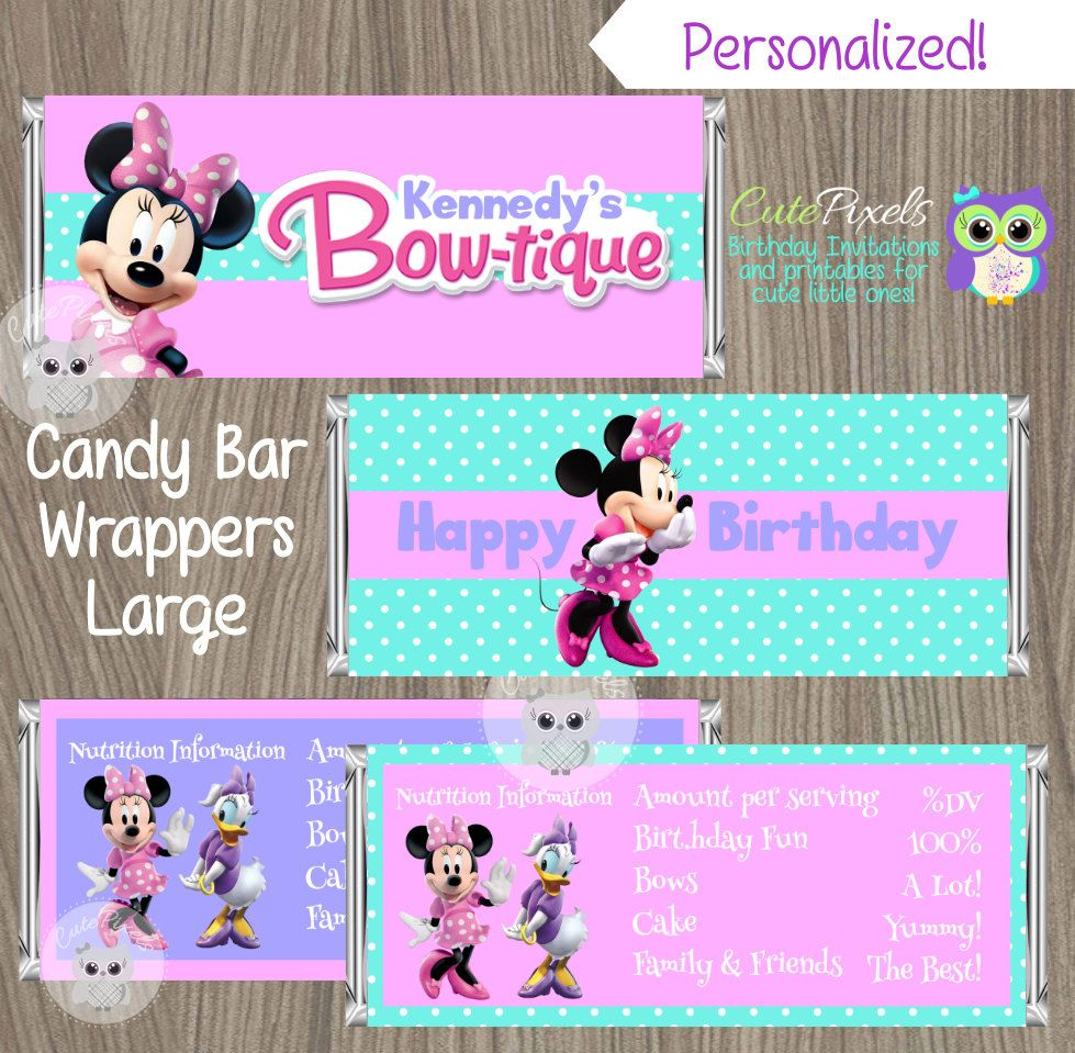 Minnie Mouse Candy Bar Wrappers, Minnie Mouse Bowtique Candy Bar ...