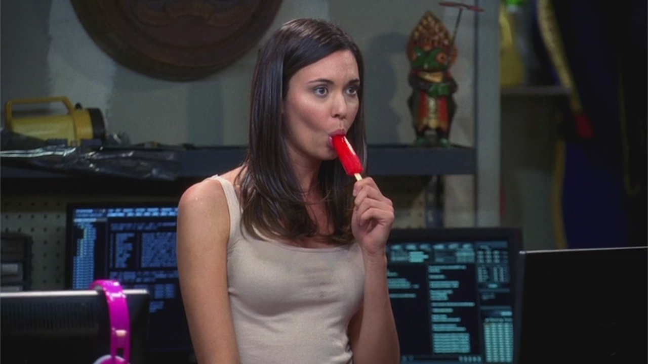 Odette Yustman-Annable sucking Popsicle - Two and a Half ...