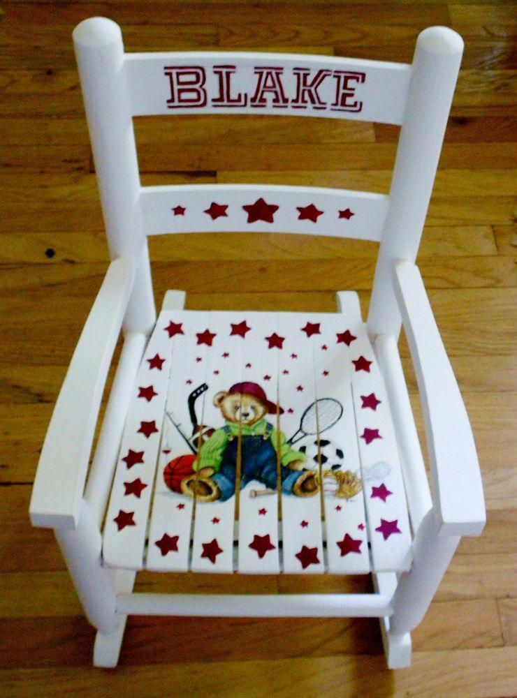 Child S Personalized Handpainted Rocking Chair Kids Rocking Chair Hand Painted Art Chair