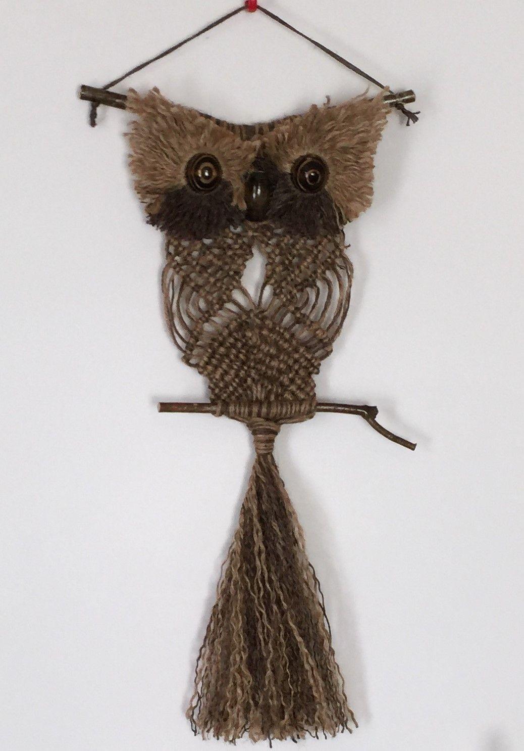 OWL #118 Macrame Wall Hanging, natural jute, macrame owl