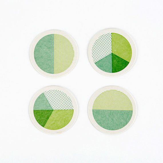 Letterpress Geometry Circle Coasters Set