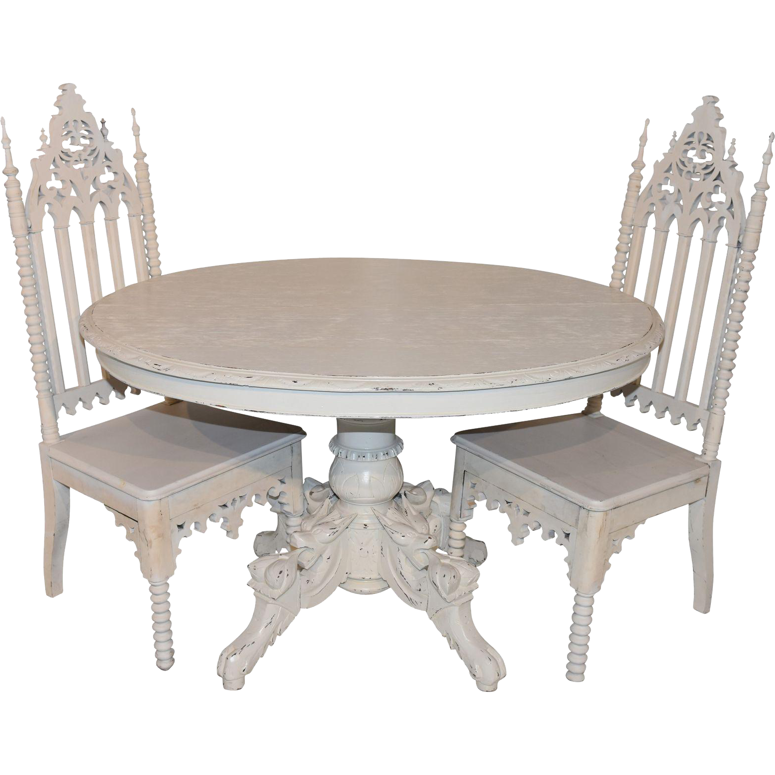 Antique French Dining Table & Two Gothic Chairs, Custom Painted ...