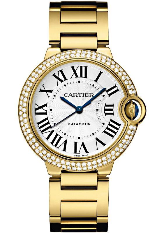Ballon Bleu De Cartier 36 Mm Diamond 18k Yellow Gold Watch