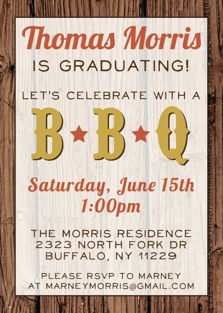 barbecue graduation party invitations wording custom bbq
