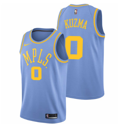 38eadb9e9ce Men 0 Kyle Kuzma Jersey Blue Los Angeles Lakers MPLS Fanatics