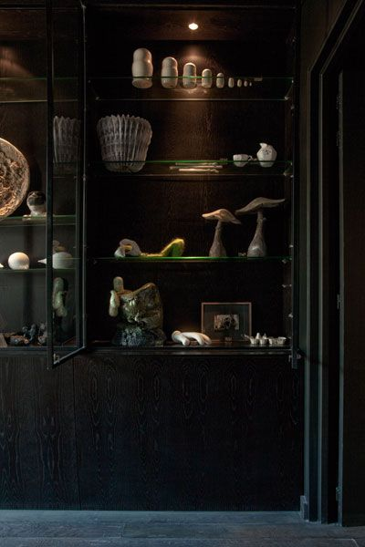 Cabinet of Curiosities in the Curiosity Case Suite of La Maison Champs Elysées hotel in Paris.