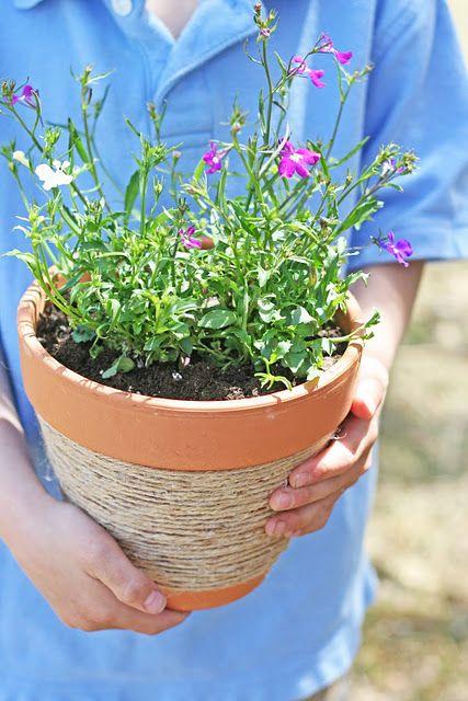 I Would Paint The Jute To Add Color Or Paint The Pot Flower Pot Crafts Jute Flowers Flower Pots