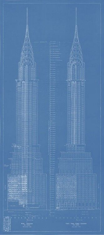 Chrysler building blueprint technical drawing design architectural presentation malvernweather Images