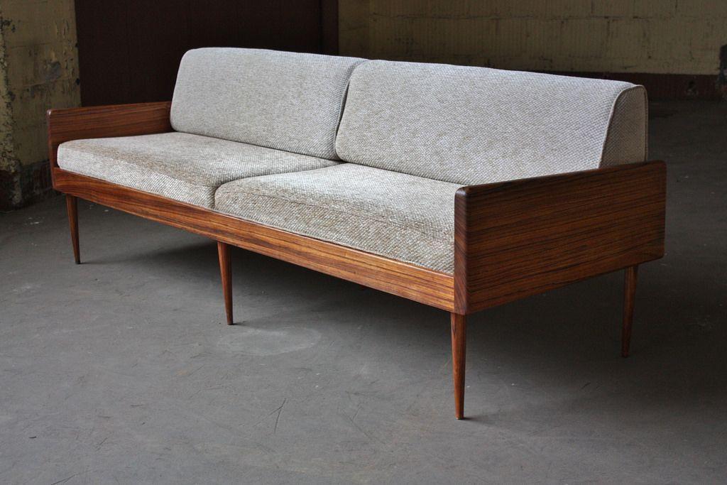 Smoldering Danish Midcentury Modern Solid Rosewood Platform Sofa