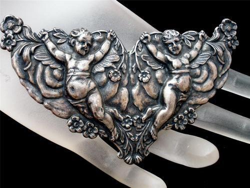 Large Art Nouveau Style Angel Cherub Repousse Silver Estate Brooch Pin Vintage | eBay