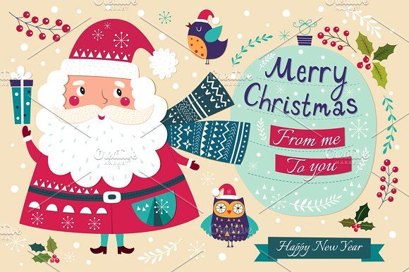 7d30563898 Illustrations with Santa Claus by MoleskoStudio on  creativemarket ...