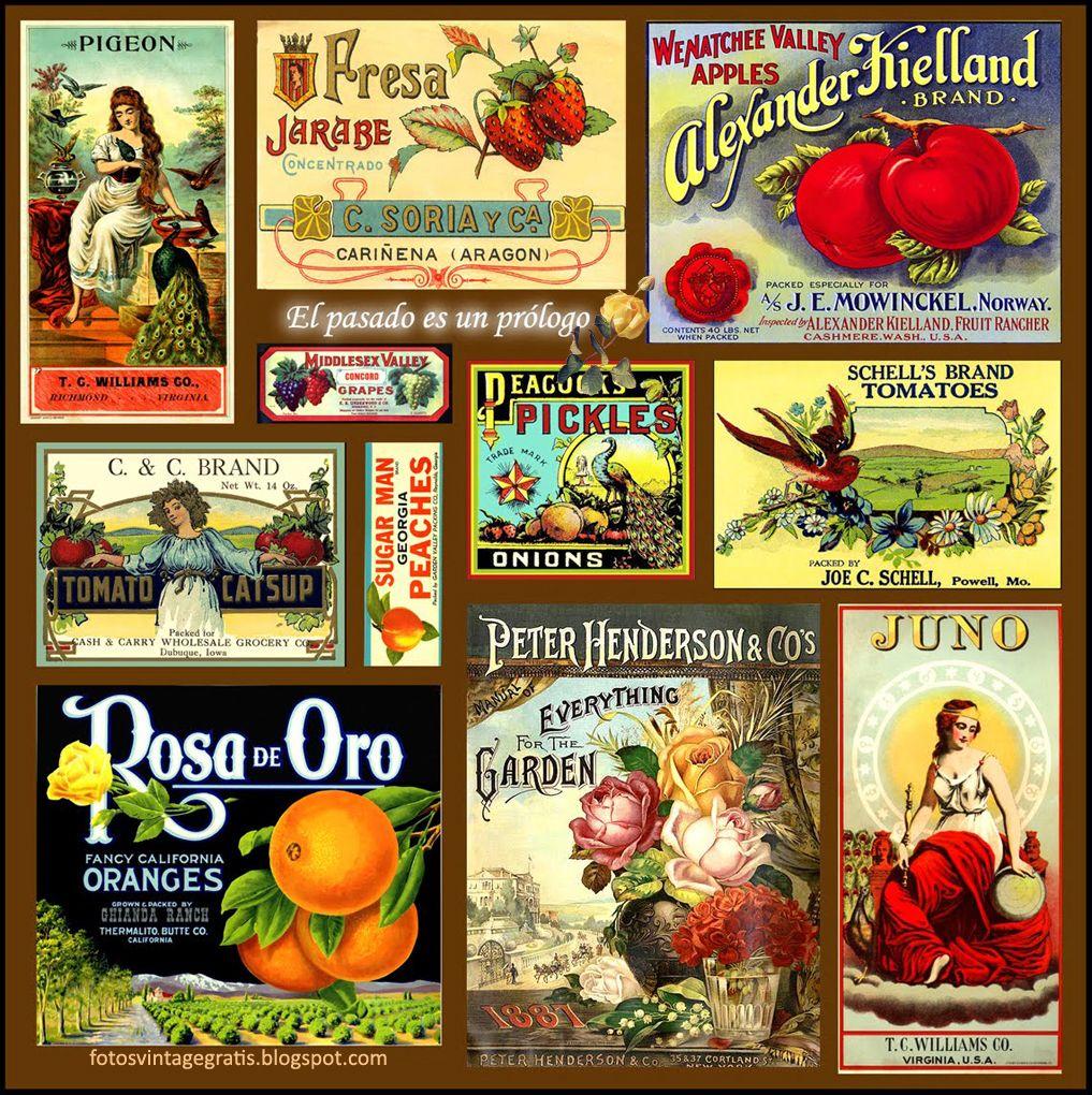 collage vintage de etiquetas de publicidad antiguas | basteln ...