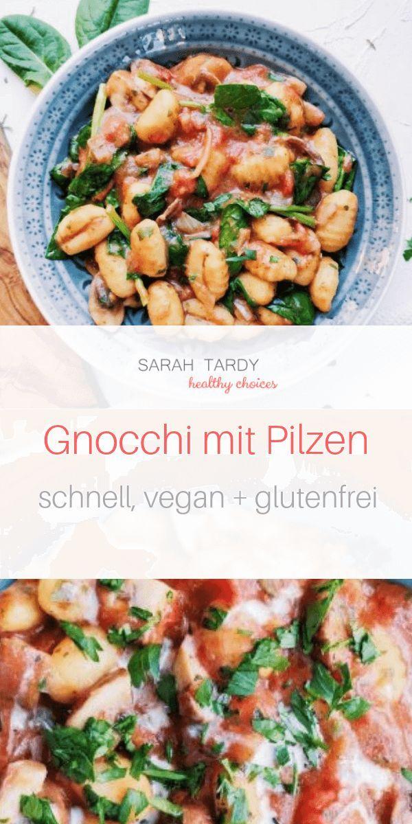 Das ist unser Fastfood Abendessen: glutenfreie vegane Gnocchi (im Bioladen gekauft) mit Zwiebeln, Pilzen, Tomaten, Spinat und Cashewcream. Eins meiner Lieblingsessen unter der Woche, wenn es schnell gehen und trotzdem gut schmecken soll.  #vegan  #gesund  #gnocchi  #pilze #vegetarischerezepteschnell