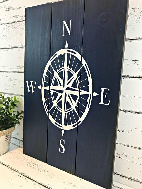 Photo of Compass Rose – Nautical Compass Sign – Nautical Decor – Beach House Decor – Coas…