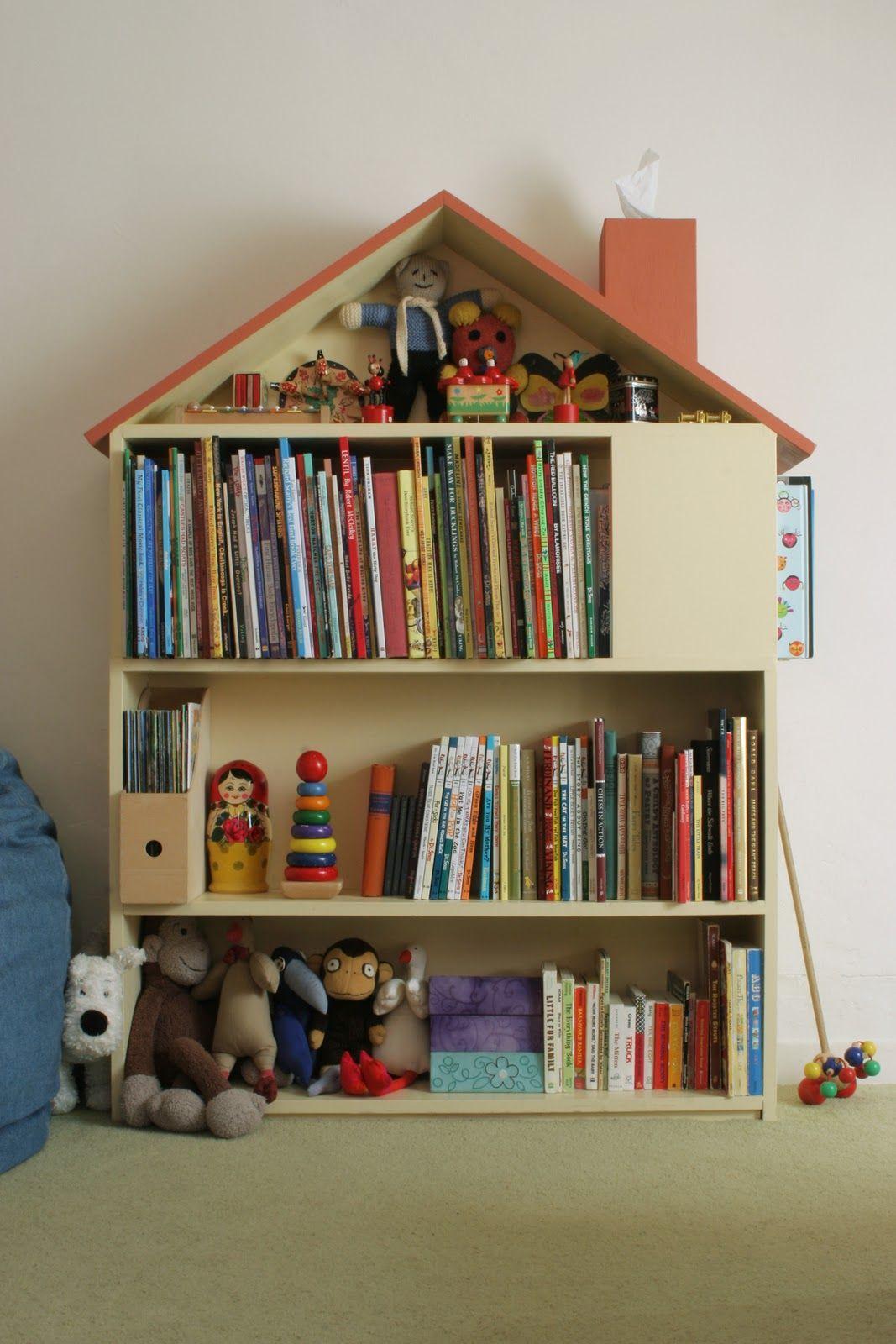House Bookshelf. Love the chimney idea!