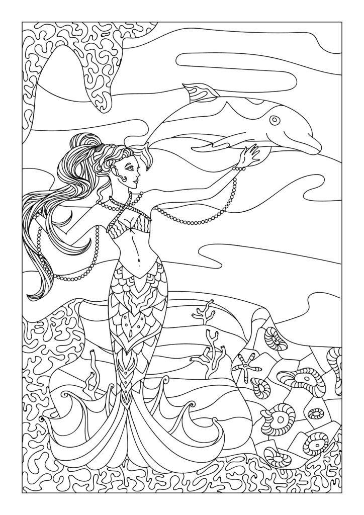 Mermaid and Dolphin #Coloring pages #Color pages #mermaid #Coloring ...