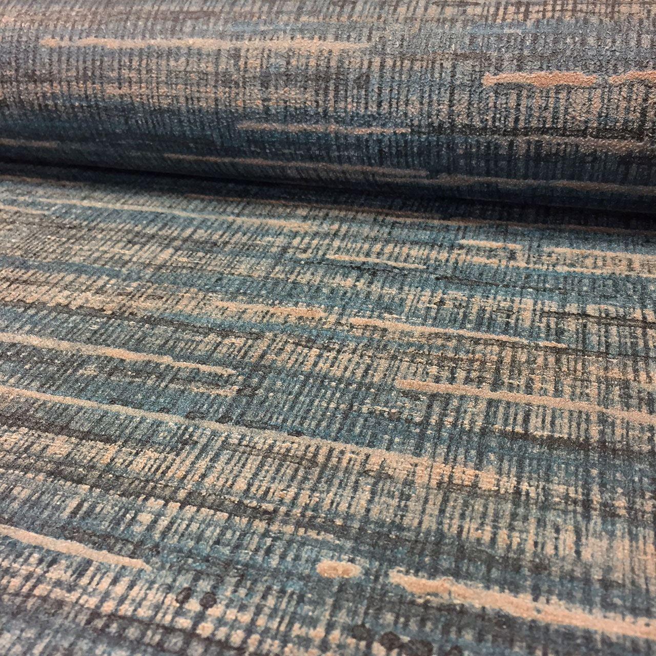 Saffiano Deep Teal Blue Grasscloth Wallpaper Paste The
