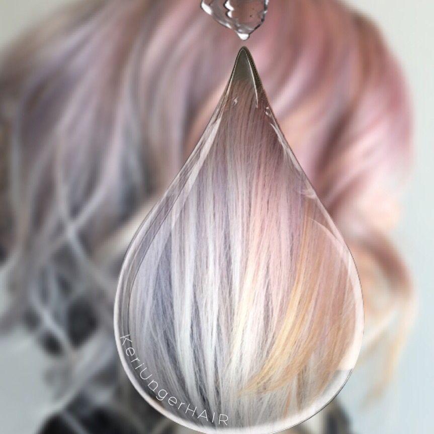 Watercolor Hair Pink Blue Peach Angled Bob Veiled Over Black