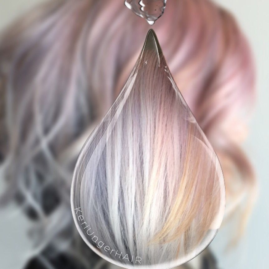 Watercolor Hair Pink Blue Peach Angled Bob Veiled Over Black