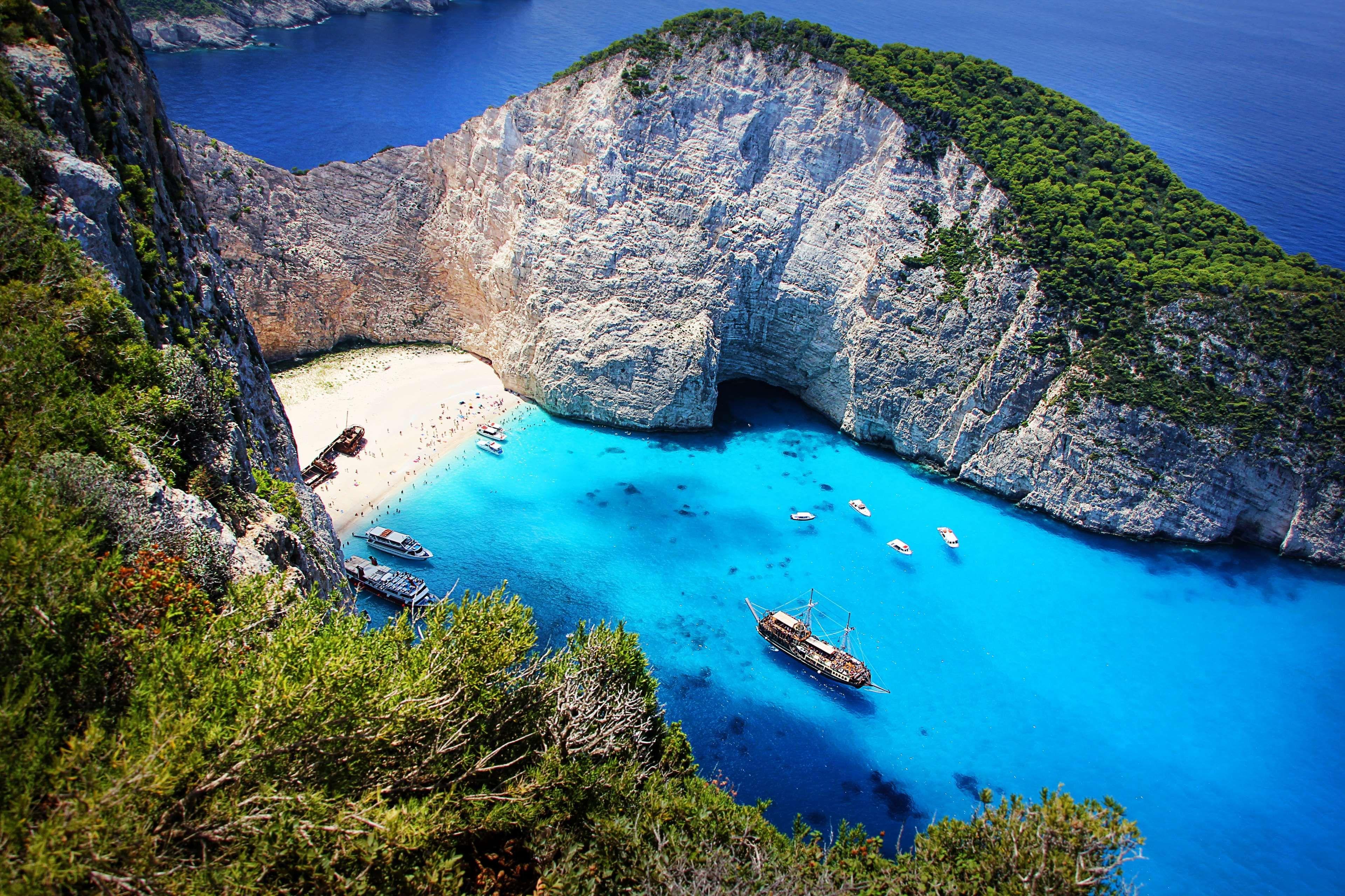 beach, coast, greece, island, ocean, outdoors, rocky