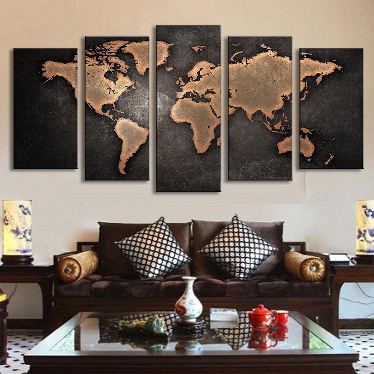 Mivyy frameless huge modern abstract world map wall art canvas mivyy frameless huge modern abstract world map wall art canvas painting for living room home gumiabroncs Gallery