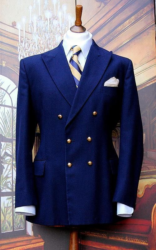 Dunn Amp Co Vintage Navy Double Breasted Blazer Gold Buttons