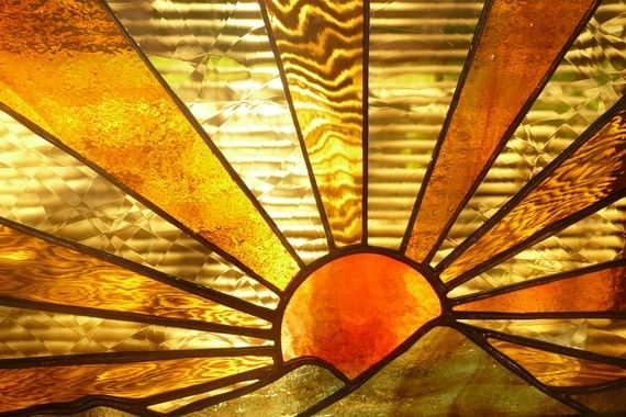 Sunrise Sunset Over Hills In Stunning Stained Glass Faux Stained