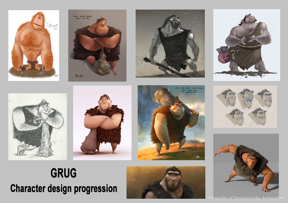 Grug - character design - progression