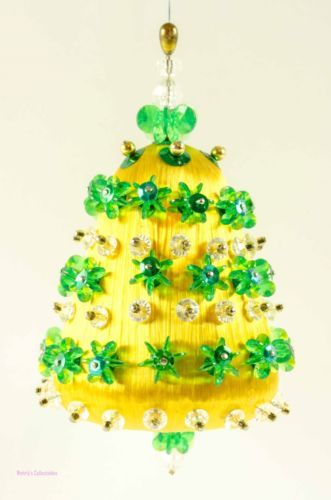 Bell Decoration Enchanting Vintage Handmade Christmas Tree Ornament Bell Shape Gold Silk Inspiration