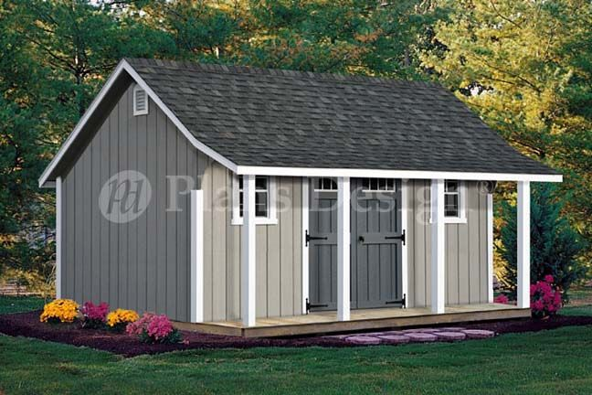 14 X 16 Cape Code Storage Shed With Porch Plans P81416 Free Material List Shed With Porch Diy Shed Plans Wood Shed Plans