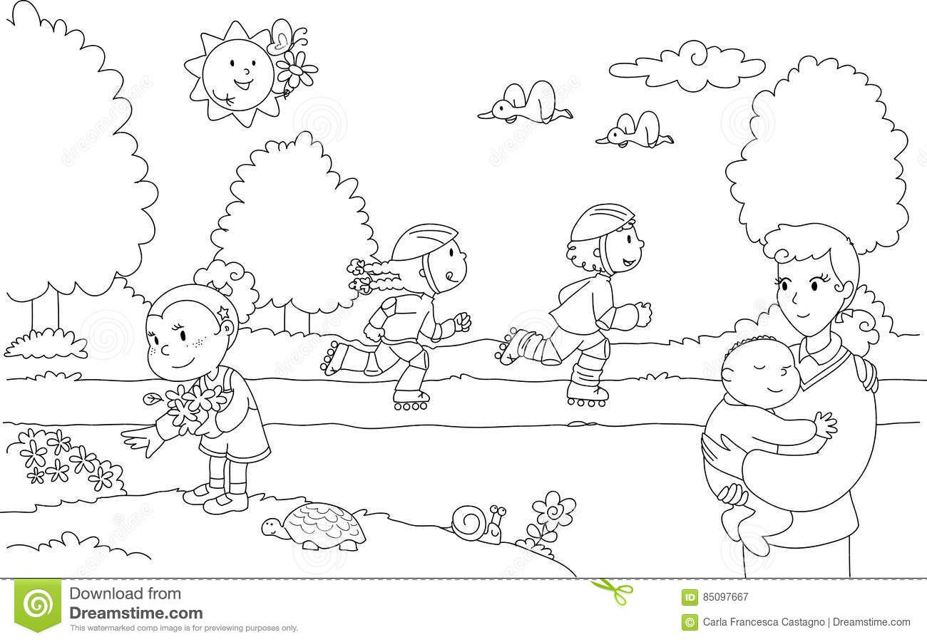 Pin By Krishna Kasturi On Worksheets Cartoon Coloring Pages Kids Playing Clipart Black And White