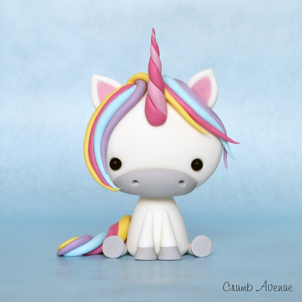 Diy Cute Unicorn Sugar Paste Step By Step Tutorial Can Be Adapted For Polymer Clay By Crumb Avenue Polymer Clay Crafts Polymer Clay Animals Cute Clay