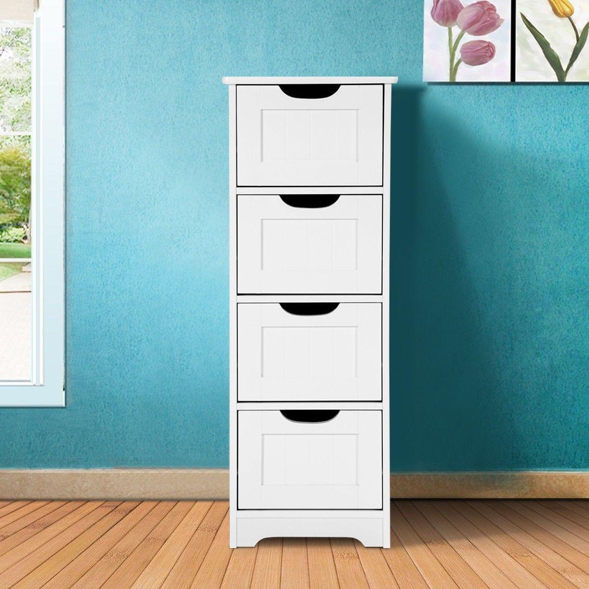 Bathroom Wooden Free Standing Storage Side Floor Cabinet Organizer