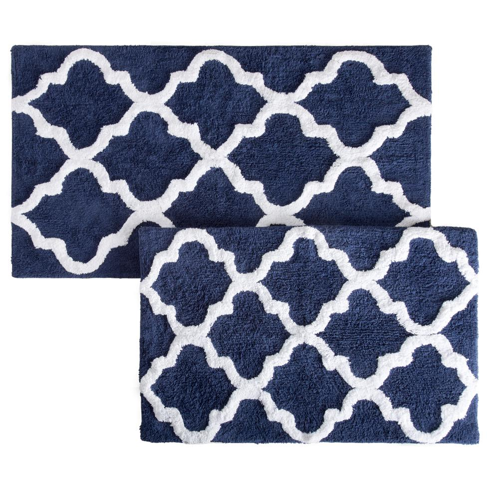Lavish Home Trellis Navy 24 5 In X 41 In 2 Piece Mat Set 67 0027
