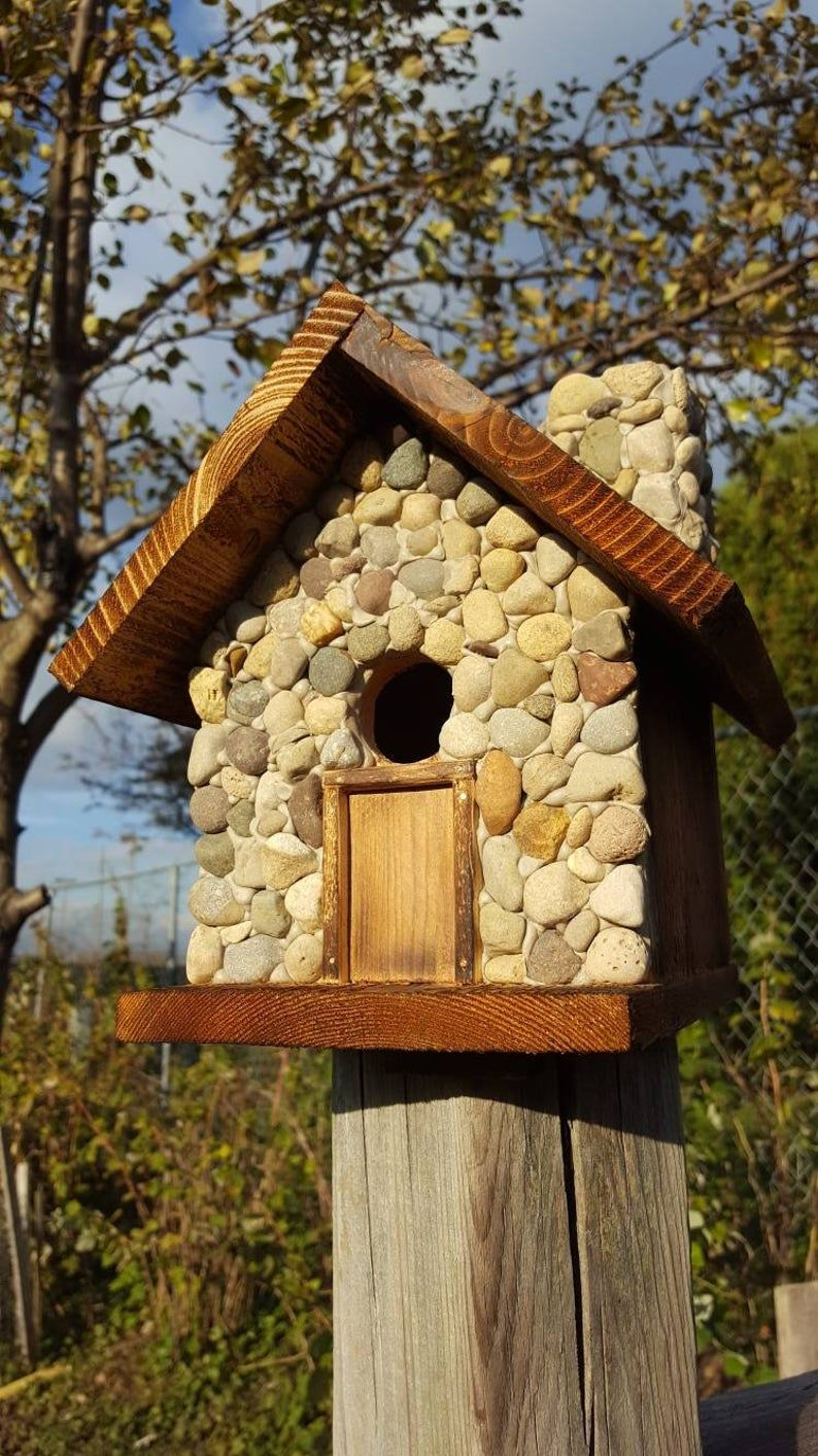 Birdhouse With Stones Covering Front Side And Chimney Bird Houses Unique Bird Houses Bird Houses Painted [ 1412 x 794 Pixel ]