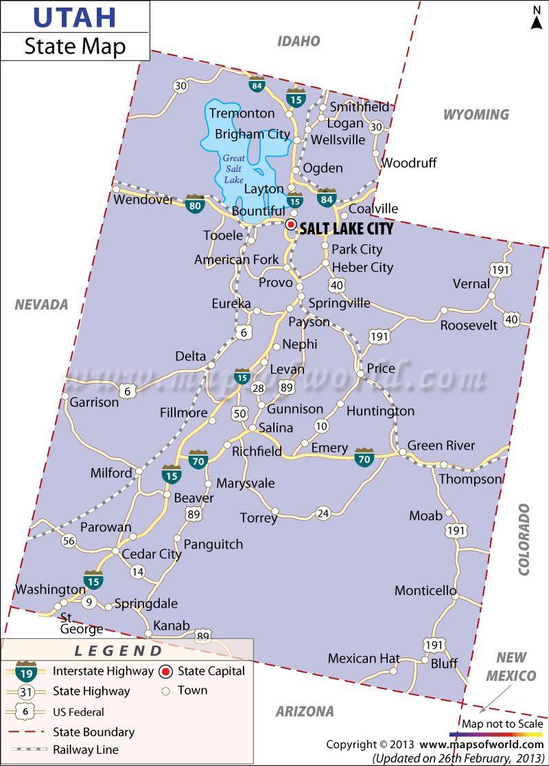 Map Of Utah  Maps  Pinterest  Trips Utah And Lakes